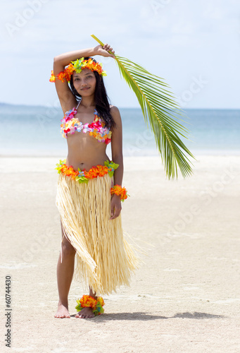 Hawaii Hula dancer on beach