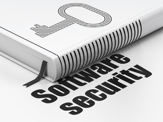 Privacy concept: book Key, Software Security on white background