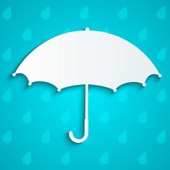Paper umbrella on rainy background