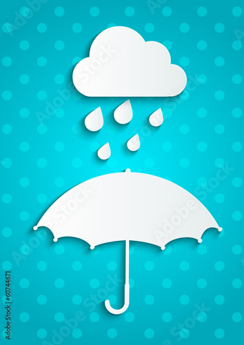 Paper umbrella with rainy cloud