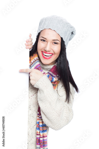Winter girl with blank sign