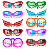 Sunglasses set. Vector icons