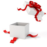 3d present box and red bow on white background