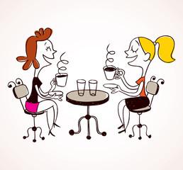 two girls drinking coffee