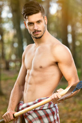 Sexy man with axe