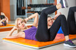 Women  doing exercise for abdominals