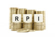 RPI (Retail Price Index) on Coin Stacks Isolated White Backgroun