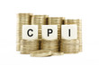 CPI (Consumer Price Index) on Coin Stacks Isolated White Backgro