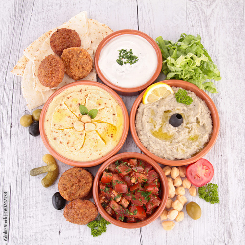 hummus, falafel and others mezze