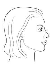 Schwarz-weiße Zeichnung eines Frauenportraits von der Seite