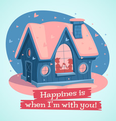Loving couple at home. Vector illustration.