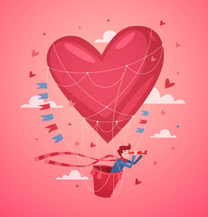 A man in a hot air balloon. Valentine's Day Card.