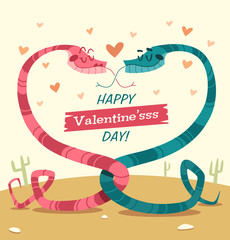 Two snakes fell in love. Valentine's Day Card.