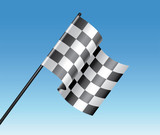vector racing checkered flag and blue sky