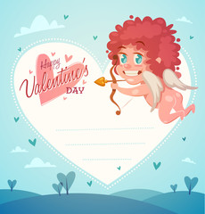 Cupid with bow and arrow. Valentine's Day Card.