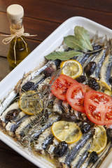 Crispy baked fresh sardines, mackerel fishes