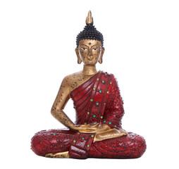 Buddha Figur isoliert auf Weiß in Rot mit Gold