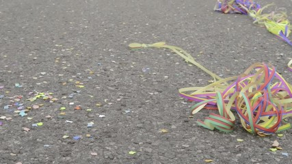 after party - confetti and streamers on the ground