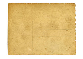 Back side of an antique post card isolated on white. Scan.