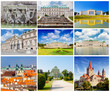 Set of photos with types of sights of Vienna, Austria