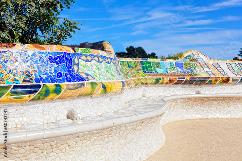 Decorative bench with a mosaic in Park Guell, Barcelona, Spain