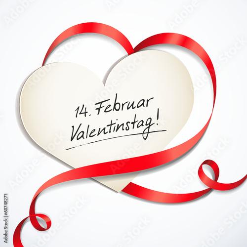 Herzförmige Schleife, Karte - Reminder Valentinstag