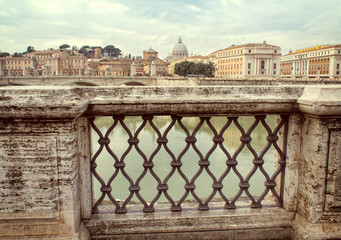 view of Rome Italy from   Sant'Angelo Castle bridge
