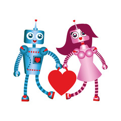 St. Valentine's Day doodle. Robots in love carry a heart.