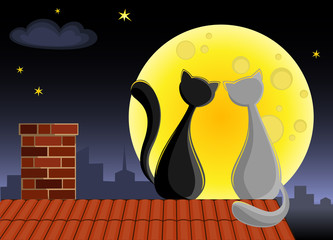 Two cats are sitting on the roof in front of full Moon