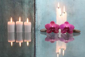 Kerzen, Orchideen