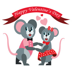 Happy valentine's day illustration. Mice couple dancing boogie.