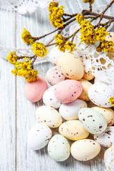 Easter eggs with a spring branch in blossom