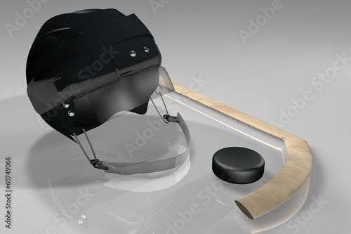 Hockey helmet, puck and stick