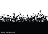Abstract music background with notes, vector - 60749247