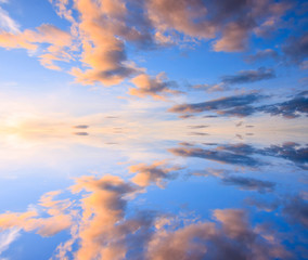 Colorful reflection of clouds
