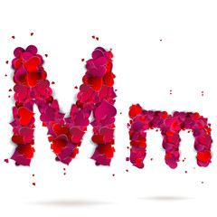 Letter m made from hearts. Love alphabet