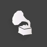 Gramophone,old retro  record player icon