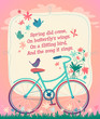 Bicycle on the spring field. Vector illustration. - 60750679