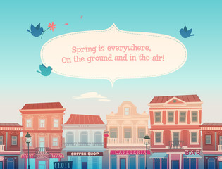 Spring sunny town. Vector illustration.