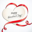 Valentinskarte mit herzförmiger Schleife
