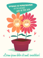 Cartoon smiling flowers. Vector illustration.