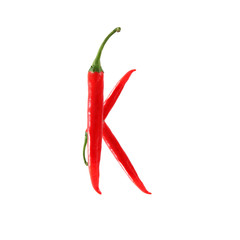 Font made of hot red chili pepper isolated on white - letter K
