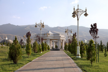 Alley in the park with a lanterns. Ashkhabad. Turkmenistan.