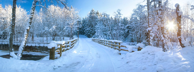Panoramic view to bridge in winter