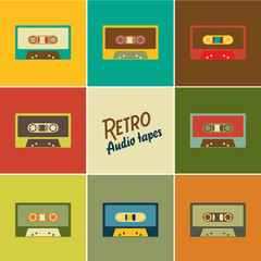 Retro audio tapes, Vector illustration