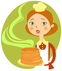 Cartoon girl with pancakes