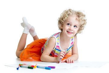 little smiling child with color pen over white