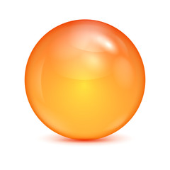 orange glass bowl isolated on white background.shiny sphere.vect