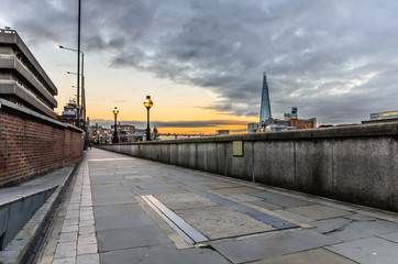 Footpath along the River Thames at Sunset, London