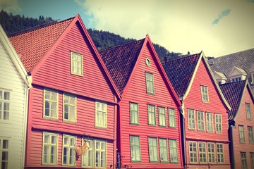 Bergen, Norway - Bryggen - cross processing retro color tone